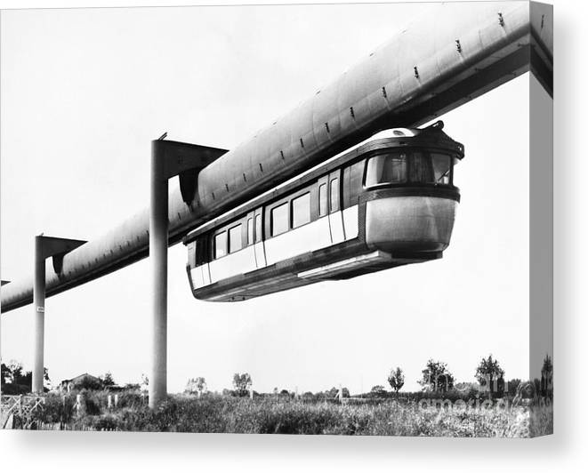 1950s Canvas Print featuring the photograph FRANCE: MONORAIL, 1950s by Granger