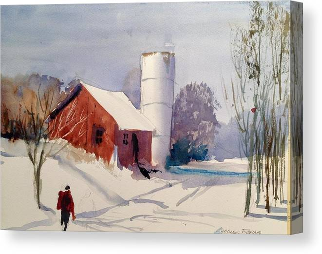 Rural Canvas Print featuring the painting Fresh Snowfall by Charles Rowland