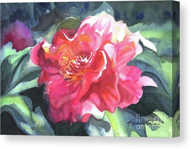 Camellia Canvas Print featuring the painting Full Blown by Karen Winters