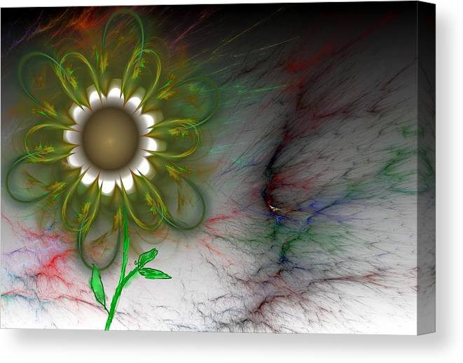 Digital Photography Canvas Print featuring the digital art Funky Floral by David Lane