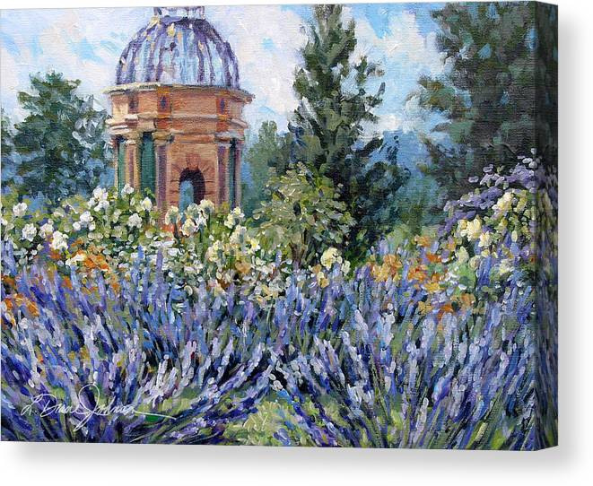 Provence France Canvas Print featuring the painting Garden Profusion - Lavender by L Diane Johnson