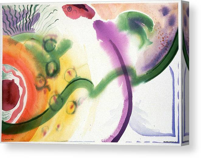 Abstract Canvas Print featuring the painting Geomantic Blossom Ripening by Eileen Hale
