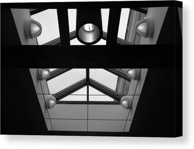 Black And White Canvas Print featuring the photograph Glass Sky Lights by Rob Hans