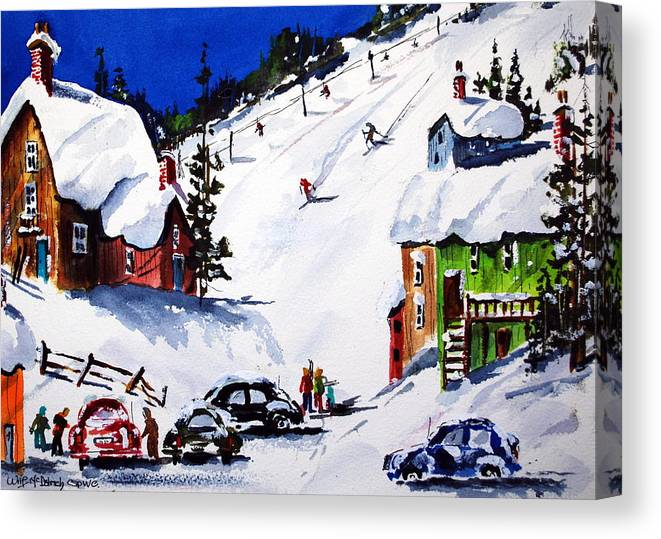 Skiing Winter Snow Sports Canvas Print featuring the painting Going Downhill by Wilfred McOstrich
