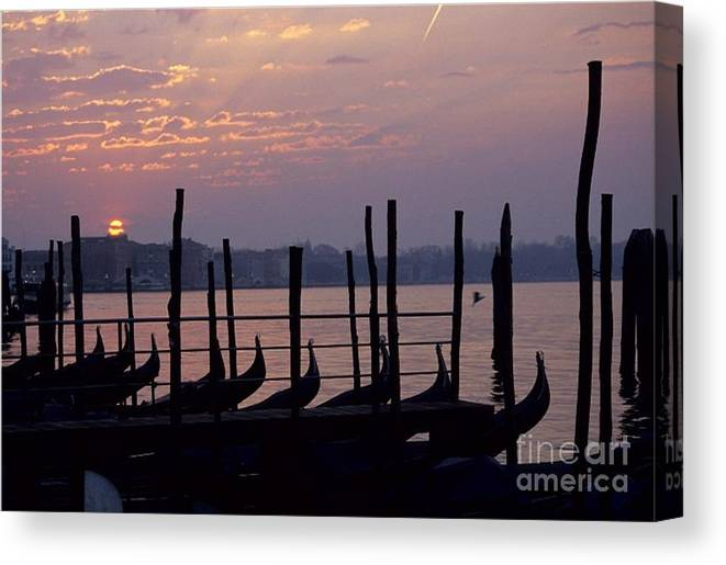 Venice Canvas Print featuring the photograph Gondolas In Venice At Sunrise by Michael Henderson