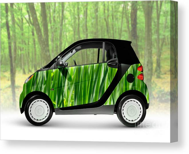 Smart Canvas Print featuring the photograph Green Mini Car by Maxim Images Prints