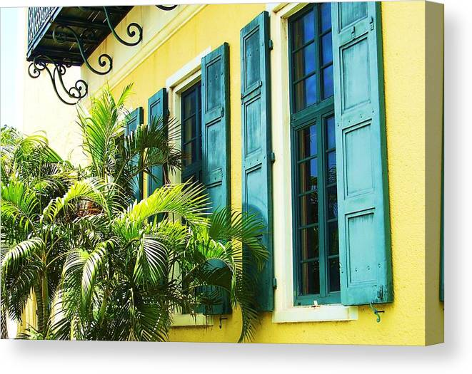 Architecture Canvas Print featuring the photograph Green Shutters by Debbi Granruth