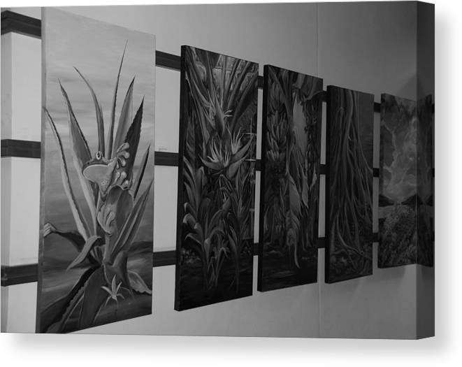 Black And White Canvas Print featuring the photograph Hanging Art by Rob Hans