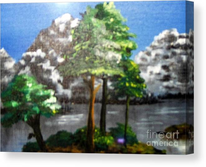Landscape Canvas Print featuring the painting Hideaway by Saundra Johnson