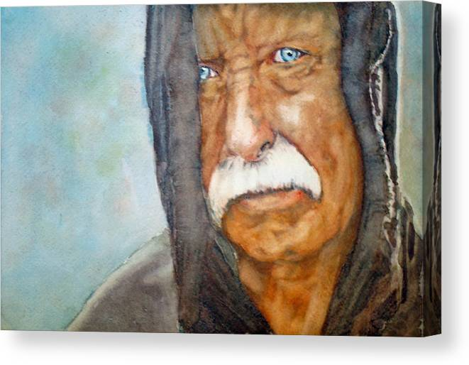 Vietnam Canvas Print featuring the painting Homeless Vietnam Veteran by Kerra Lindsey