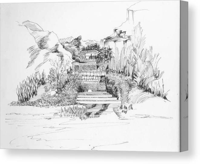 Landscape Canvas Print featuring the drawing Hut in the hills by Padamvir Singh
