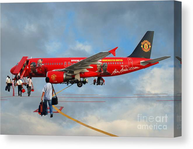 Photography Sky Airplane Passenger People Football Stars Canvas Print featuring the photograph In The Sky by Ty Lee