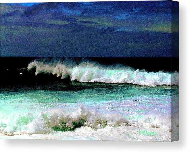Waves Canvas Print featuring the photograph Kaluakoi Surf by James Temple
