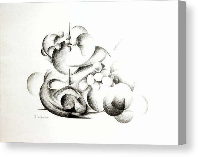 Abstract Canvas Print featuring the drawing La guerre des bulles by Muriel Dolemieux