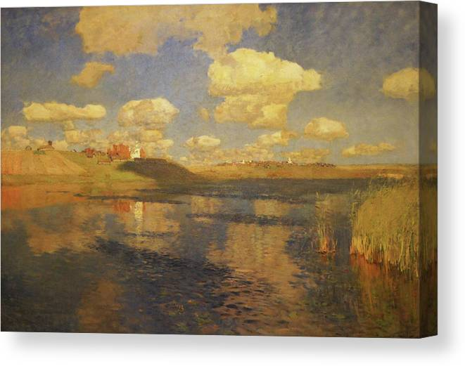 Isaac Levitan Canvas Print featuring the painting Lake Russia by Isaac Levitan