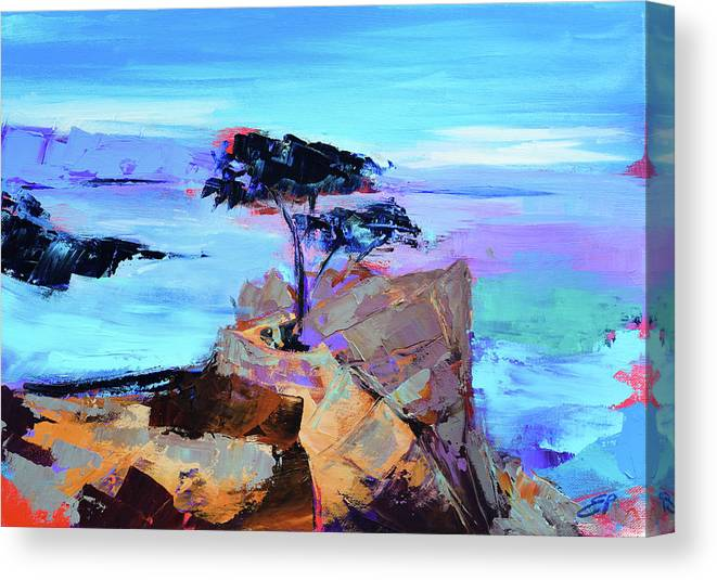 Lone Cypress Canvas Print featuring the painting Lone Cypress - California by Elise Palmigiani