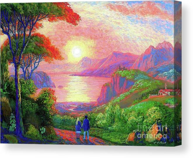 Tree Canvas Print featuring the painting Love is Sharing the Journey by Jane Small