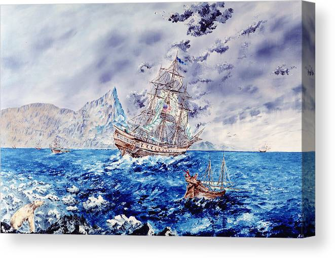 Tall Ships Canvas Print featuring the painting Maiden Voyage by Richard Barham