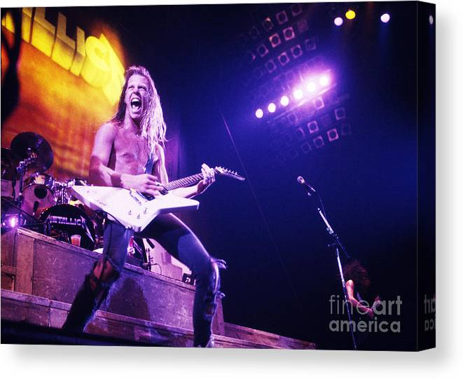 Rock And Roll Canvas Print featuring the photograph Metallica 1986 James Hetfield by Chris Walter