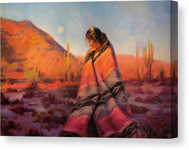 Southwest Canvas Print featuring the painting Moon Rising by Steve Henderson