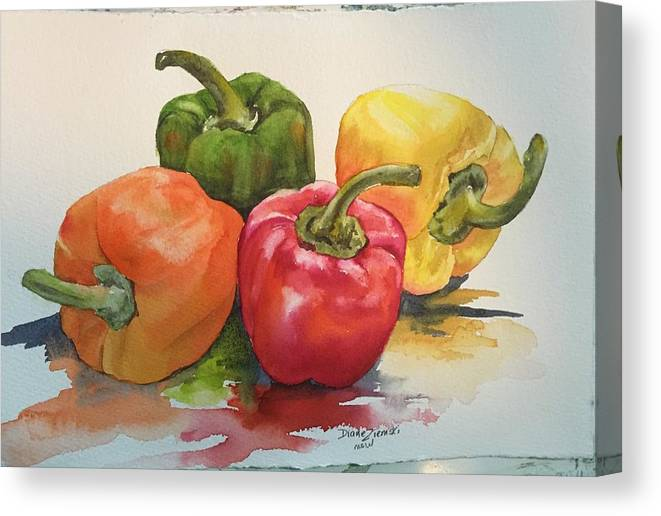 Watercolor Canvas Print featuring the painting More peppers by Diane Ziemski