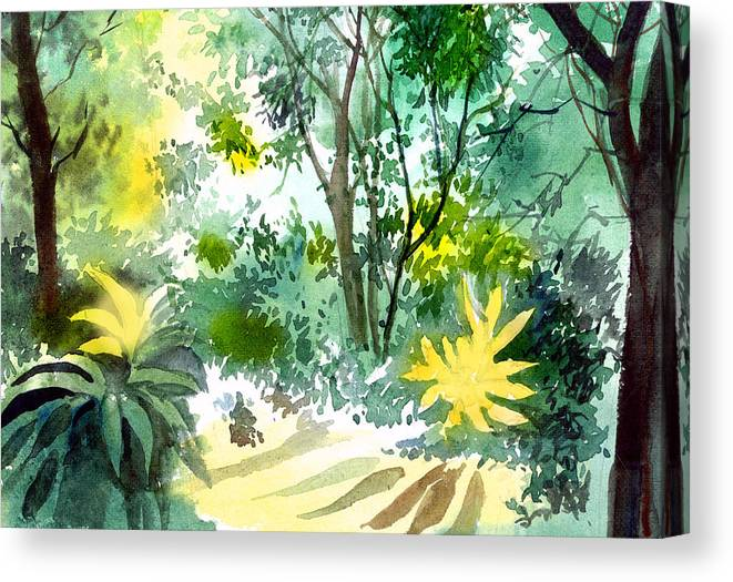 Landscape Canvas Print featuring the painting Morning glory by Anil Nene