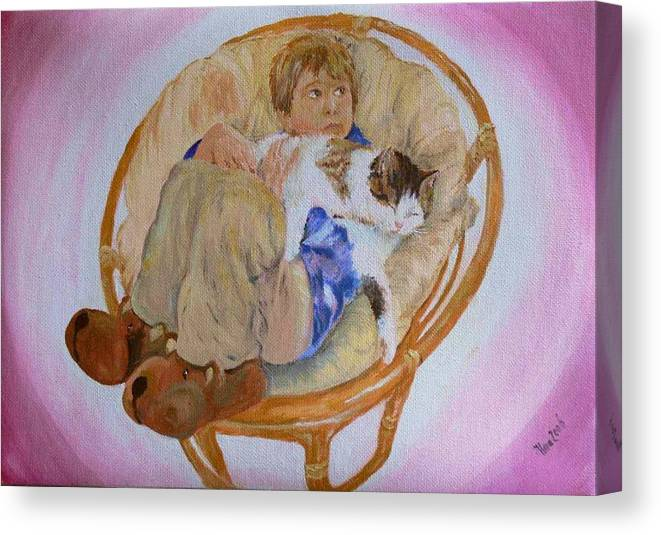 Portrait Canvas Print featuring the painting my grandson Pascal with his cat Paul by Helmut Rottler