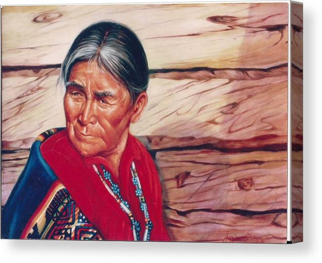 Native American Canvas Print featuring the painting Navajo Woman by Naomi Dixon