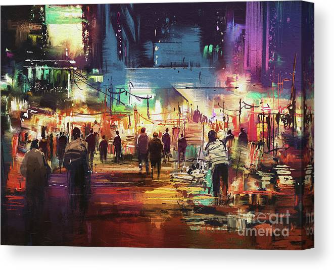 Abstract Canvas Print featuring the painting Night Market by Tithi Luadthong