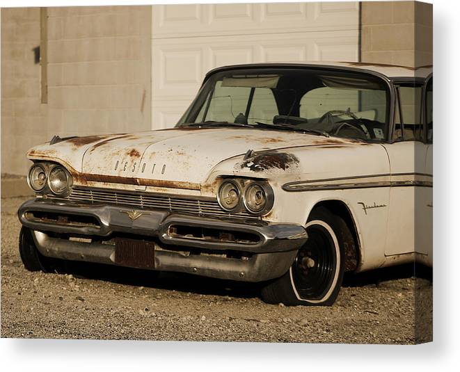 Classic Desoto Canvas Print featuring the photograph Old Desoto in Sepia by Colleen Cornelius