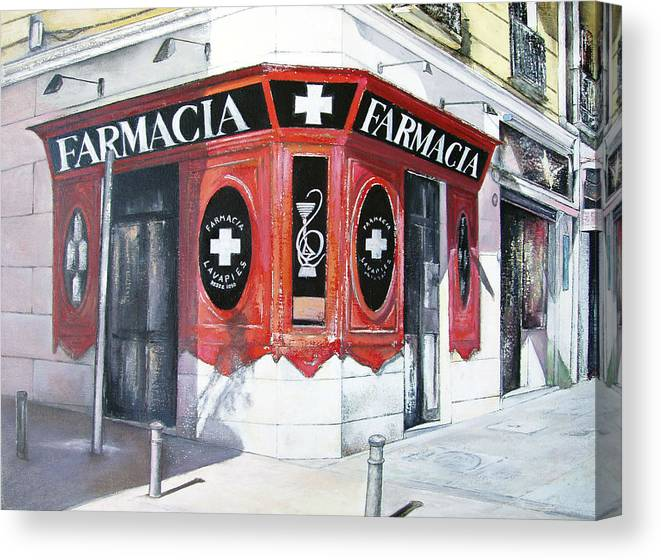 Pharmacy Canvas Print featuring the painting Old Pharmacy by Tomas Castano