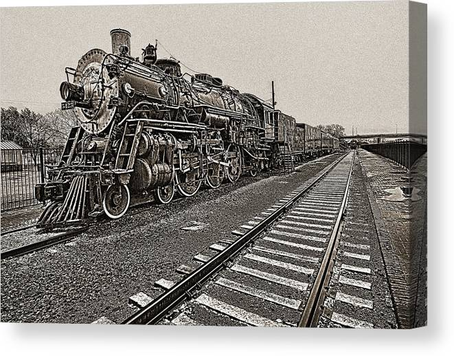 Railroad Canvas Print featuring the photograph Oldtimer by Jim Painter