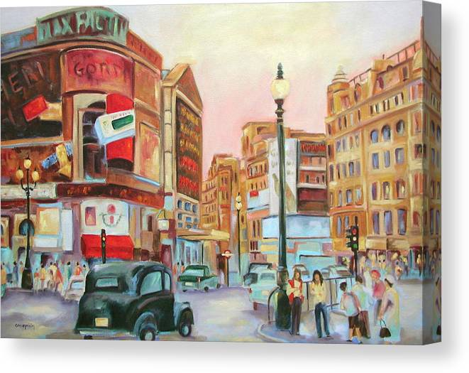 Cityscape Canvas Print featuring the painting Picadilly by Ginger Concepcion