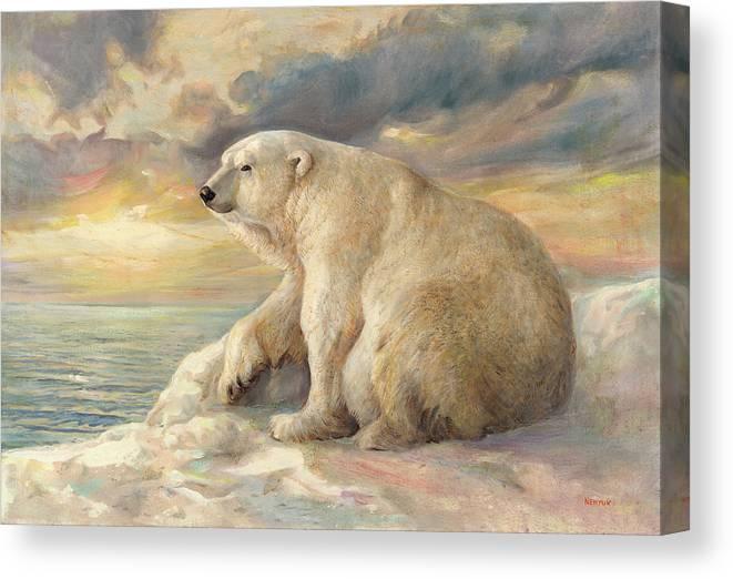 Polar Bear Canvas Print featuring the painting Polar Bear Rests On The Ice - Arctic Alaska by Svitozar Nenyuk