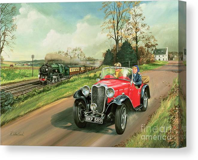 Train Canvas Print featuring the painting Racing the Train by Richard Wheatland