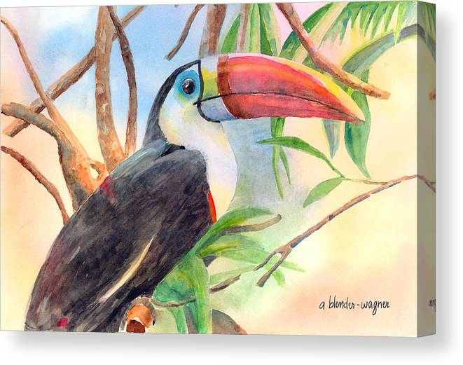 Toucan Canvas Print featuring the painting Red-billed Toucan by Arline Wagner