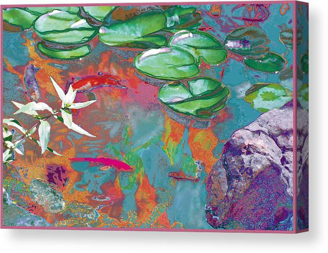 Koi Canvas Print featuring the photograph Red Koi In Green Disguise by Judy Loper