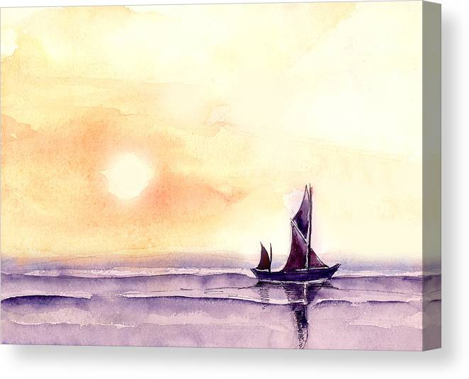 Nature Canvas Print featuring the painting Sailing by Anil Nene