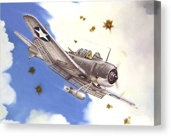 Sbd Canvas Print featuring the painting Sbd-3 Dauntless by Marc Stewart
