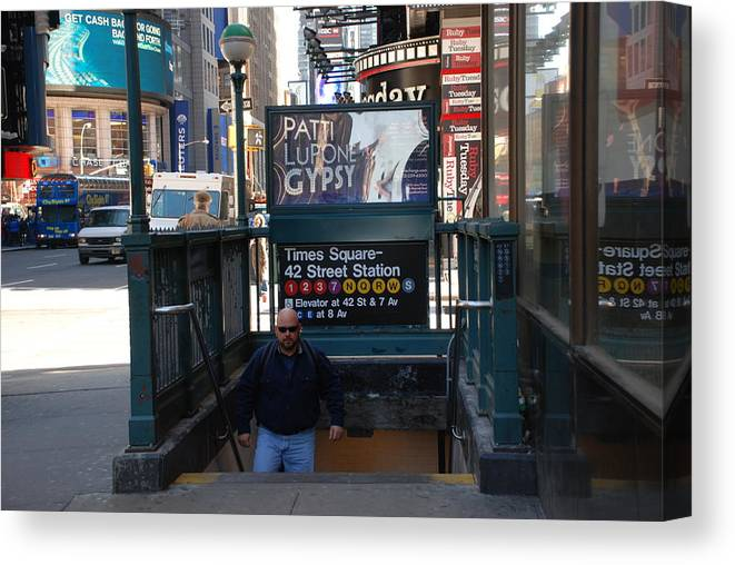 Subay Canvas Print featuring the photograph Self At Subway Stairs by Rob Hans