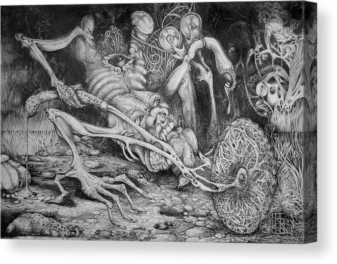 Surrealism Canvas Print featuring the drawing Selfpropelled Beastie Seeder by Otto Rapp