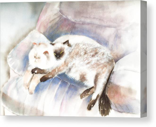 Cat Canvas Print featuring the painting Sleeping Together by Arline Wagner