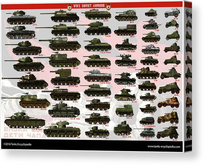 Soviet Canvas Print featuring the digital art Soviet Tanks ww2 by The collectioner