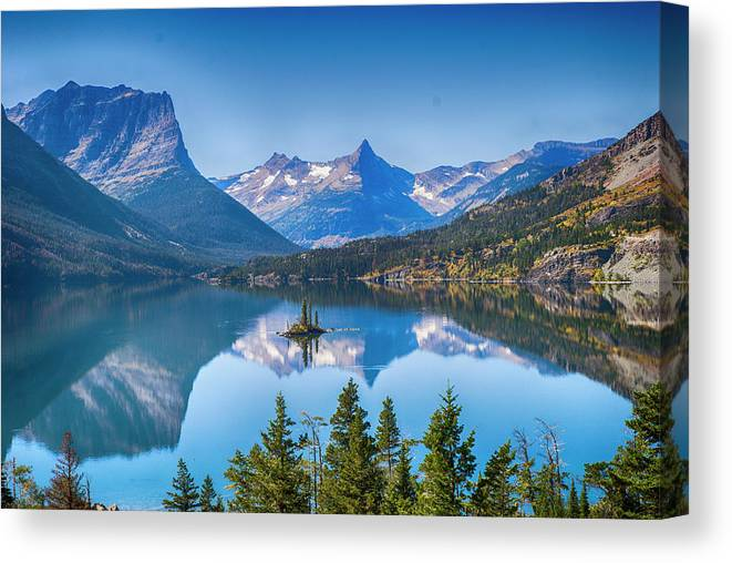 Lake Canvas Print featuring the photograph St Mary Lake by Bryan Spellman