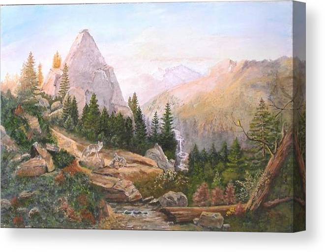 Landscape Canvas Print featuring the painting Sugarloaf Peak Eldorado California by Nicholas Minniti