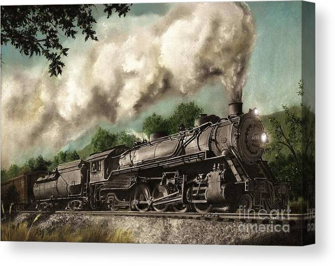 Baltimore & Ohio Railroad B&o Q4 Train Painting Railroad Maryland And Pennsylvania Autumn Fall Colors Steam Engine Canvas Print featuring the painting Sunday Drive by David Mittner