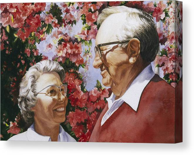 Watercolor Canvas Print featuring the painting Sweethearts by Nancy Ethiel