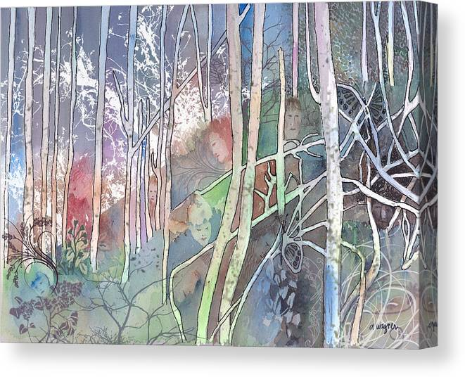 Forest Canvas Print featuring the mixed media Ten Faces In The Mystical Forest by Arline Wagner