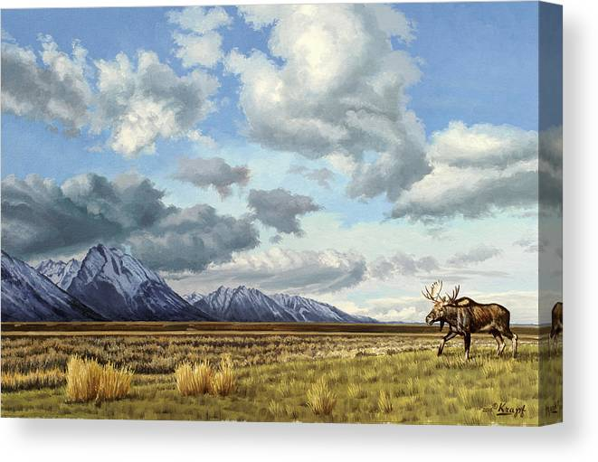 Teton National Park Canvas Print featuring the painting Tetons-Moose by Paul Krapf