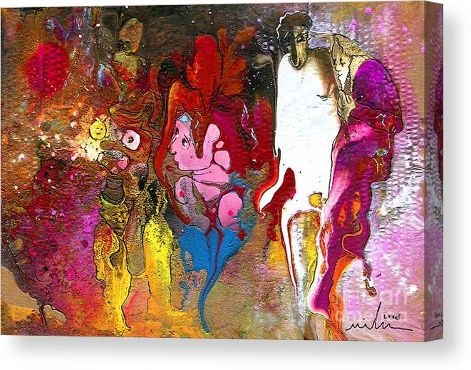 Miki Canvas Print featuring the painting The First Wedding by Miki De Goodaboom